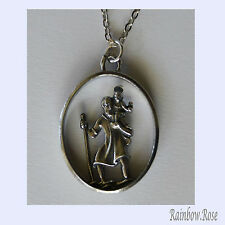 Pewter Necklace on chain #110 ST. CHRISTOPHER MEDALLION Travel Protector Saint