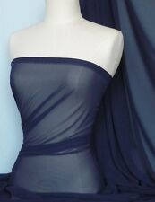 Navy soft touch chiffon sheer fabric material Q354 NY