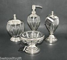 4PC SET HAND MADE INDIA MOUTH-BLOWN GLASS SOAP DISPENSER+DISH+TOOTHBRUSH+JAR,LID