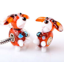 1pcs SILVER MURANO GLASS BEAD LAMPWORK Animal fit European Charm Bracelet DW299