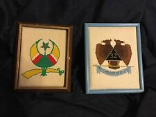 """Masonic Needlepoint Pair Of Framed FREE MASONRY Emblems Vintage 9 X 11"""""""