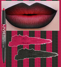NYX OMBRE LIP DUO - HEARTS & SPADES - TRUE RED LIPSTICK BLACK LIP LINER