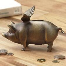 Winged Wonder Piggy Bank Metal Whimsical Flying Pig Bronze Finish Bank