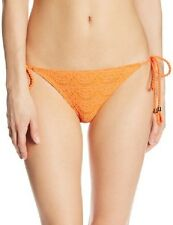 Roxy Bikini Bottom Sz M Orange Brazilian String Side Tie Swimwear Swim Bottoms