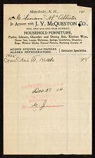 1905 Bill head J Y McQueston Furniture Alaska Refrigerators, Reclining Gocart NH