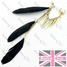 3 BLACK FEATHERS chain EAR CUFF crystal stud rhinestone gold pl earcuff earrings