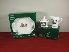 4 SOUP BOWL +CREAMER +SUGAR & LID MIKASA CHRISTMAS WISH ULTIMA + IN BOX HOLIDAY