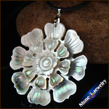 Vintage Carved Natural Mother of Pearl Sea Shell Gemstone Beads Pendant Necklace