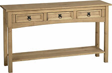 Corona Distressed Light Waxed Solid Pine Console Hall Side Table with Drawers