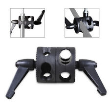 Universal Heavy Duty Flash Light Backet Stand Arm Double Dual Grip Head Clamp
