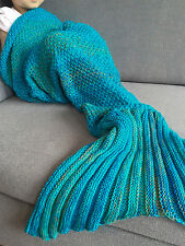 Sweet Nap Mermaid Tail Sofa Blanket Soft Warm Hand Crocheted Sleeping Bags Blue