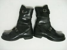 Vintage HH Double- H Tanker Boots Buckle Strap Black Leather Size 10 W