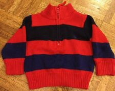 Boys Polo Ralph Lauren Striped Sweater 9M Red Blue Navy Good Condition