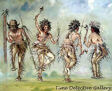 Four Dancers, Ojibwe-Chippewa  by George Catlin -1843 Native American Art Print
