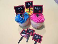 12 - ABC Back To School Chalkboard Cupcake Toppers Picks Cake Party Decorations