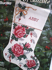 "Bucilla Lovely Red ""Christmas Roses"" Stocking Counted Cross Stitch Kit"