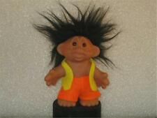 "DAM (DK) TROLL '68 4.5"" PLAYMATE ORANGE PANTS YELLOW TOP BLACK HAIR BOY! v973"