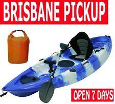 Fishing Kayak Single Sit-on Kayaks 5 Rod Holders Comfort Seat & Paddle + dry bag