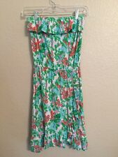 Lilly Pulitzer knit strapless pink green orange flower Cotton dress Small Sm S