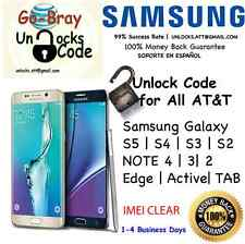 Unlock Code Samsung Galaxy S7 S6 S5 S4 S3 NOTE 5 4 3 Edge Active AT&T 1-48 Hrs