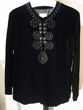 PETITE BLACK VELVET BEADED TUNIC TOP TALBOTS 8P $149