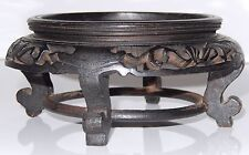 Antique Chinese Carved Black Wood Stand Display Signed INTRICATE Footed 3 3/8 in