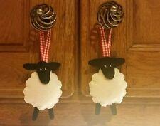 Blanco Negro Rojo Colgante de Decoración de Cinta Moña ovejas Gisela Graham Navidad