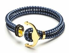 Vice Bracelet Blue Double Tone Strand / Gold Anchor Medium 7 inch