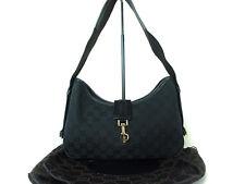 Authentic GUCCI GG Pattern Black Canvas Leather Shoulder Bag GT6336L