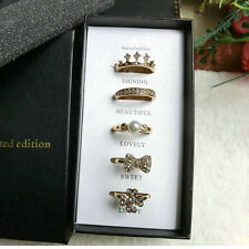 Gold Plated Crystal pearl Adjustable women jewelry 5PCS Rings Set  Xmas Gift