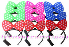 MINNIE MICKEY MOUSE EARS 12 PCS LIGHT UP BOW HEADBANDS FLASHING LED PARTY FAVORS