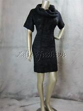 New WOW COUTURE Stylish Purple Gray Black Cable Knit Cowl Keck Sweater Dress M
