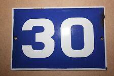 VINTAGE ENAMEL Number  PORCELAIN TIN SIGN Plate HOME / HOUSE DOOR NUMBER 30