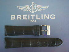 QUALITY 24MM BLACK CROCO PRINT WATCH BAND WATCHBAND BRACELET STRAP FIT BREITLING