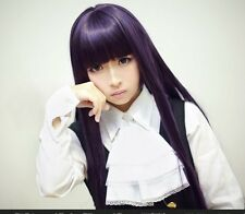 New Dark Purple Lolita Long Straight Synthetic Hair Wigs Cosplay Party Full Wig