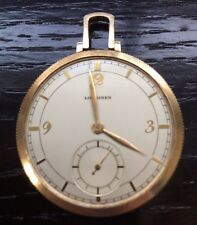 Vintage 1940s Longines Pocketwatch 10K Gold Filled -No Crown or Glass  Repair NR