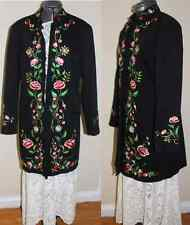 Vtg Style Victor Costa Boho Folk black embroidered floral midi Duster jacket M