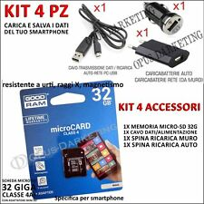 KIT 4 ACCESSORI CARICABATTERIE + MICRO SD 32G PER Samsung Galaxy Ace Plus S7500