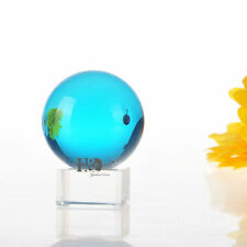 Unique 60mm sky blue Magic Crystal Healing Ball Sphere With Crystal Stand Decor&