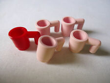 LEGO PARTS 3899  MINIFIG CUPS 4 PINK AND 1 RED