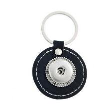 2PCs  Key Ring Real Leather Fit Snap Buttons Black Round 7.4x4.3cm
