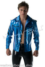 R681 Classic LATEX RUBBER Mens Button Up SHIRT *Azure* Large £139