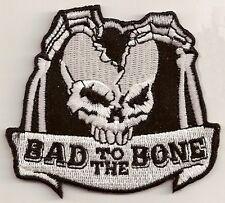 BAD TO THE BONE SPLIT SKULL BIKER PATCH