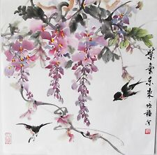 Wisteria Original Chinese Watercolor Painting Signed Art Decor small up to 14in