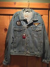Womens Biker Denim Jean Jacket w/ Harley Davidson Patches HOG LI Ladies Sz Large