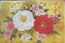 Japanese Blank Greeting Card Red and White Flowers