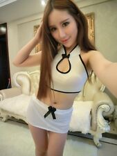 White Black Silk Cheongsam Backless Sexy Lingerie Sleepwear Dress Uniform Set