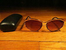 Ted Lapidus Vintage Women's  3302 Black Gold Plastic Amber Lens Oversized Oval