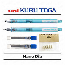 2 x UNI KURU TOGA SELF SHARPENING MECHANICAL PENCIL - BLUE + LEADS + ERASERS