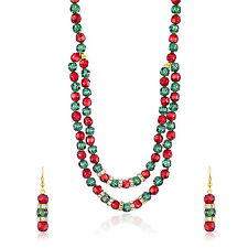 Oviya Gold Plated Red Green Beady Set with Crystals For Women NL4101029G